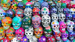 Colorful skulls from mexican tradition