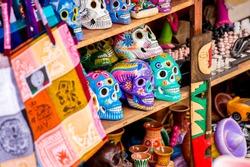 Colorful skulls souvenirs in Playa del Carmen, Mexico
