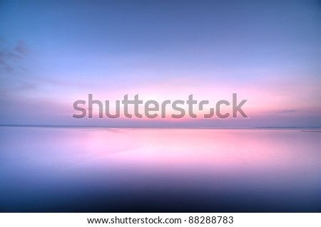 colorful sky after sunset over the lake