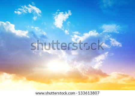 Colorful sky and sunrise. Natural landscape