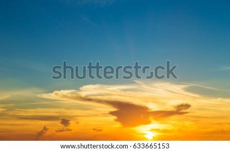 Colorful sky and sunrise. Natural landscape #633665153