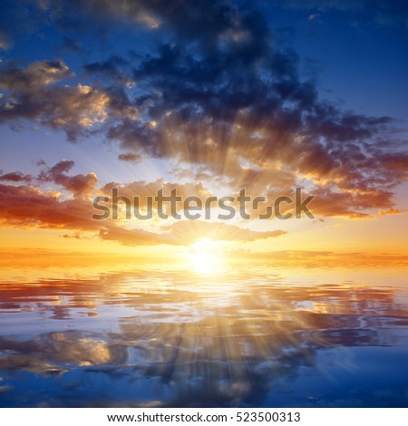 Colorful sky with clouds at sunset. Nature background. #523500313
