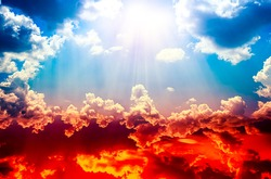 colorful sky with sun in clouds of altitude . religious background