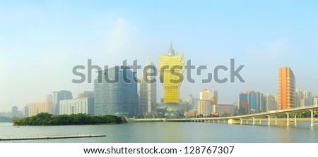 Colorful skyline of Macau city center