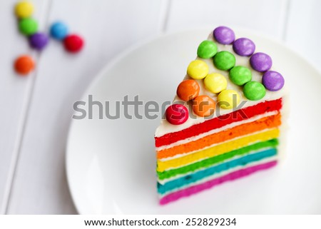 Colorful slice of rainbow layer cake
