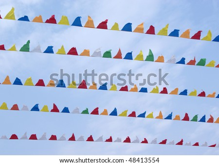 Colorful Small triangular decorative flags, pennons