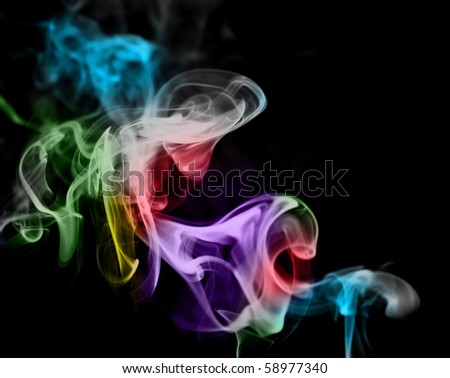 Colorful smoke abstract curly on black background