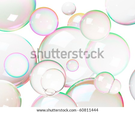 Colorful soap bubbles isolated on white