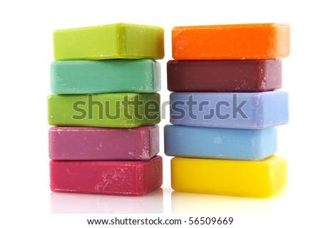 Colorful soap in different colors from the Provence
