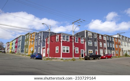 Colorful soapbox houses in St John's, Newfoundland, Canada