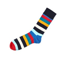 Colorful sock on white background, top view