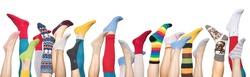 Colorful socks on white background