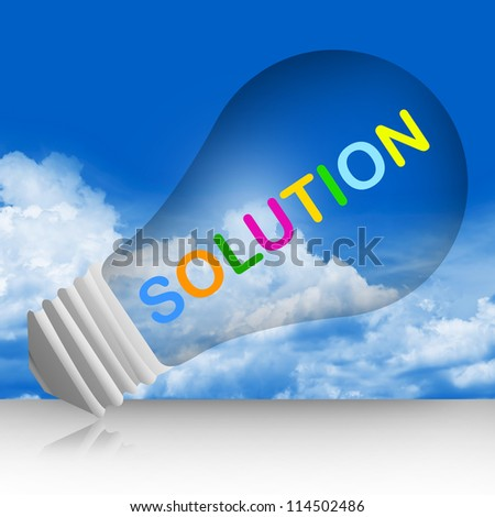 Colorful Solution Text Inside The Light Bulb For Business And Problem Solving Concept in Blue Sky Background