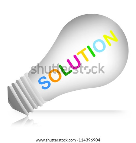Colorful Solution Text Inside The Light Bulb For Business And Problem Solving Concept Isolated on White Background