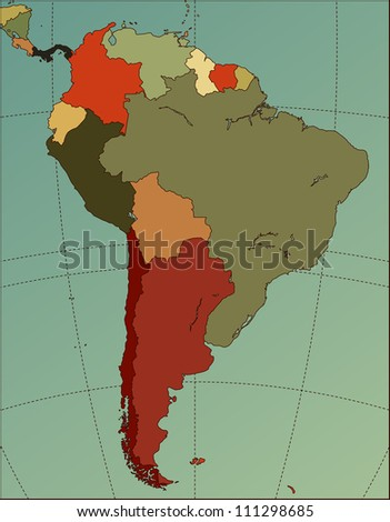 Colorful South America Map. Cartography collection.