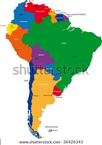 map of south american capitals. Colorful South America map