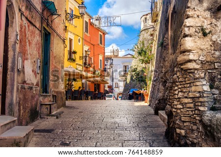 colorful south italy village alley in Apulia in the town of Vico del Gargano