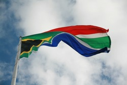 colorful southafrican flag blowing in the wind