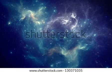 Stock Photo Colorful space nebula