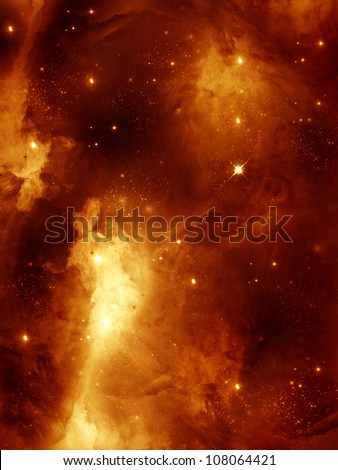 Stock Photo colorful space star-field nebula and planet in red