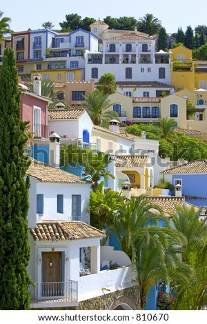Colorful Spanish pueblo on hillside in Marbella on the Costa del Sol