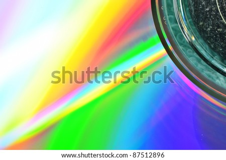 Colorful spectrum reflected compact disc on light