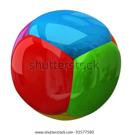 Colorful spheres isolated on white background