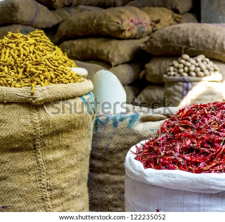 Colorful spice market in Old Dhaka, Bangladesh
