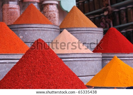 Colorful spice piles
