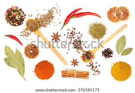 Shutterstock Colorful spices and herbs for cooking background and design isolated