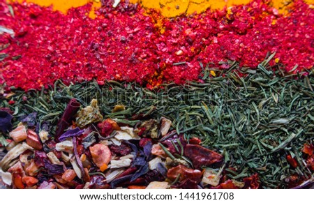 colorful spices. colored background. spices Abkhazia. rainbow of spices.