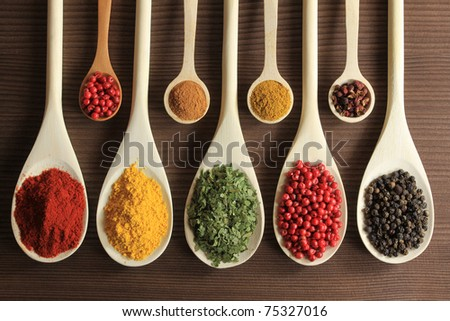 Shutterstock Colorful spices in wooden spoons - beautiful kitchen image.