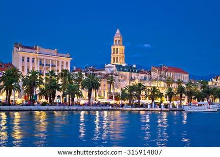 Colorful split waterfront evening view, Dalmatia, Croatia