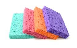 Colorful sponge on white background