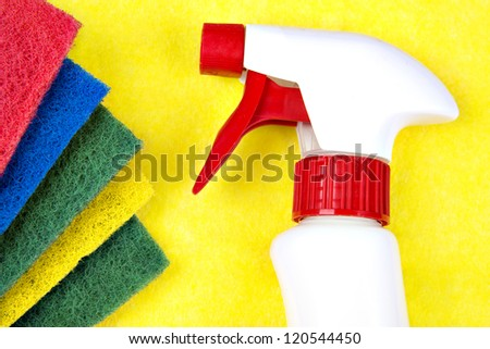 Colorful sponges used for cleaning and washing. For cleaning equipment and supplies.means for cleaning the surface of the liquid