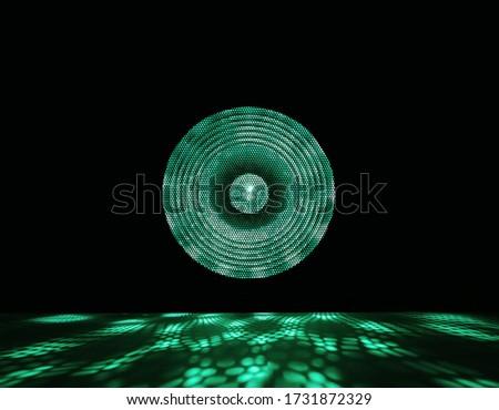 Colorful spotlight. Shiny projector beam. Green light show on black background. stock photo