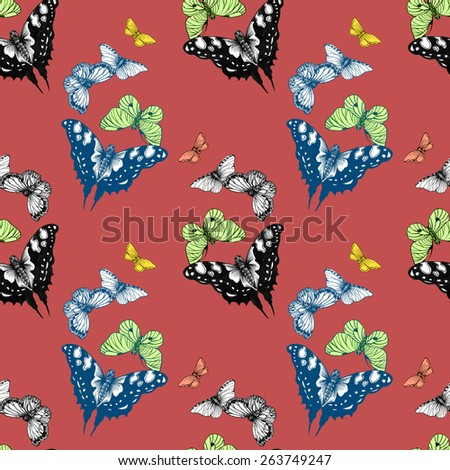 Colorful spring butterflies seamless pattern on red background