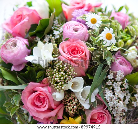 colorful spring flowers bouquet. pink roses