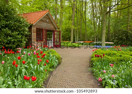 Colorful spring flowers in dutch  garden Keukenhof in Holland