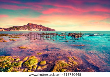 Colorful spring sunset from the Giallonardo beach, Sicily, Italy, Mediterranean sea, Europe. Instagram toning.
