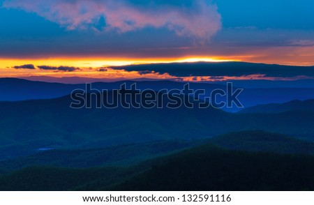 Colorful spring sunset over the Blue Ridge Mountains from Skyline Drive in Shenandoah National Park, Virginia. - stock photo