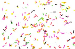 Colorful sprinkles sugar decoration for topping cake and bakery on white background.