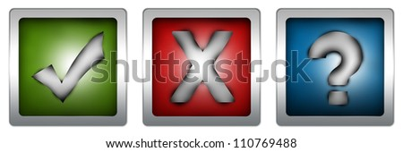 Colorful Square Check Mark, Cross Mark and Question Mark Button Isolated on White Background