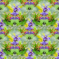 Colorful, square seamless background with forest colors. Art design, the concept of blooming summer
