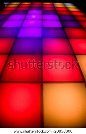 colorful square shape lighting of disco dance floor