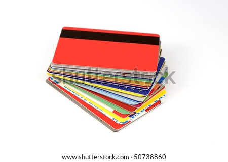 Colorful stack of credit cards and shopping gift cards