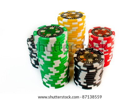 colorful stack of gambling chips on white background