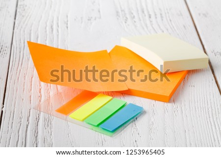 colorful stack of sticky notes. Macro closeup.post note, note pad #1253965405