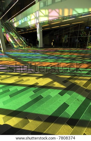 Colorful Stained Glass Pattern of Palais des Congres - Montreal, Canada
