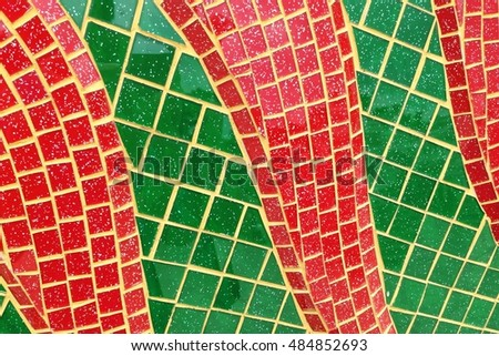 Colorful stained glass window with irregular random block pattern as Mosaic art in Thai temple. #484852693